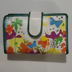 Fossil Teal & Wht Butterfly Leather & Cloth Wallet